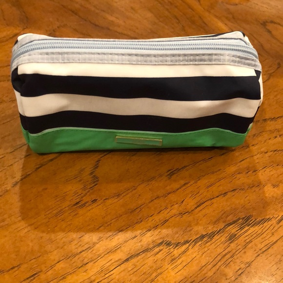 Navy and green Striped cosmetics pouch. NWOT!